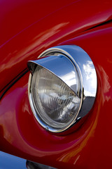 Red Classic Car Headlight