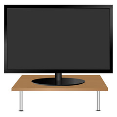 Black monitor on the table. Vector.