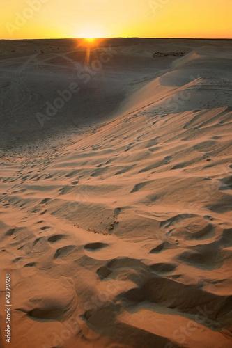 Poster Sunset with Sahara dunes