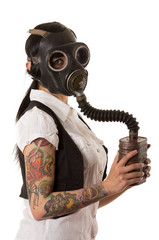 girl in gas mask with tattoos