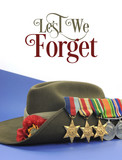 Lest We Forget sample text with slouch hat & medals