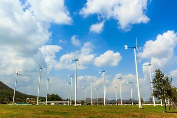 Wind turbines generating electricity