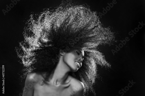 Stunning Portrait of an African American Black Woman With Big Ha - 61732299