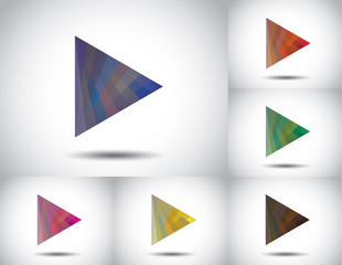 colorful triangle play icon collection set white background