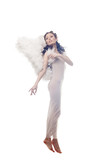 Charming curly brunette posing in angel costume poster