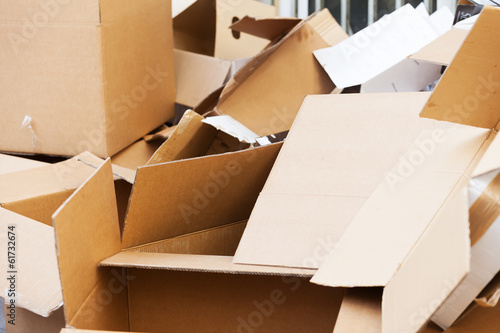 Discarded cardboard boxes