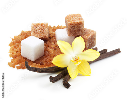 Brown and white cane sugar cubes, vanilla pods and orhid flower