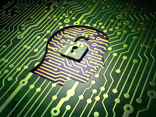 Business concept: Head With Padlock on circuit board background