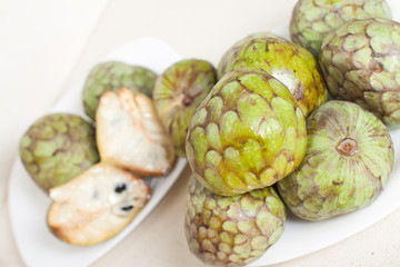 cherimoya  on plates