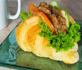 sandwich, croissant sandwich, fast food, breakfast or lunch.
