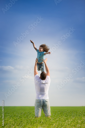 Father and kid outdoor