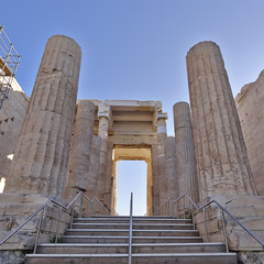 Propylaea, the monumental entrance of acropolis, Athens Greece