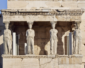 Caryatids ancient statues, erechteion temple, Athens Greece