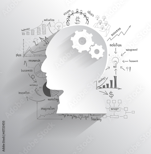 Fototapeta Vector human head with set of gears as a brain idea