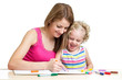 Mother and child draw together
