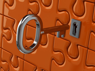 Illustration of silver key and orange puzzle pieces
