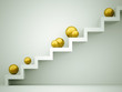 Gold sphere on stairs
