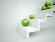 Green spheres on stairs concept