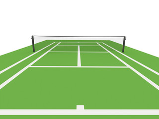 Green tennis court rendered