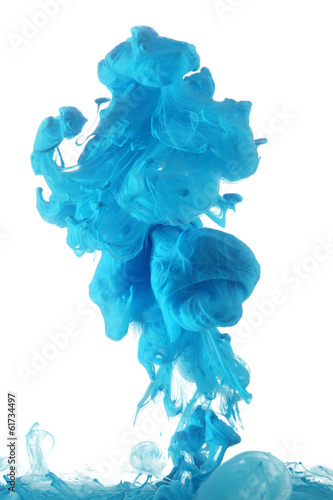 Blue ink in water - 61734497