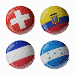 Football WorldCup 2014. Group E. Football/soccer balls.