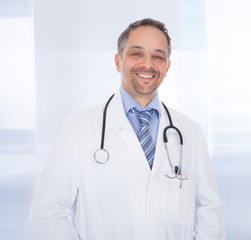 Smiling medical doctor man with stethoscope