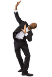 young black businessman doing theatrical dance poses