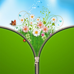 Nature background with zipper