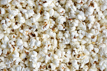 Background texture of freshly made popcorn