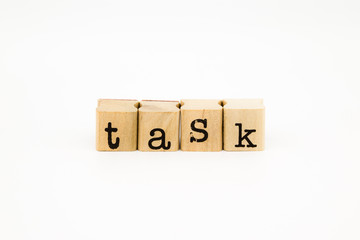 task wording isolate on white background