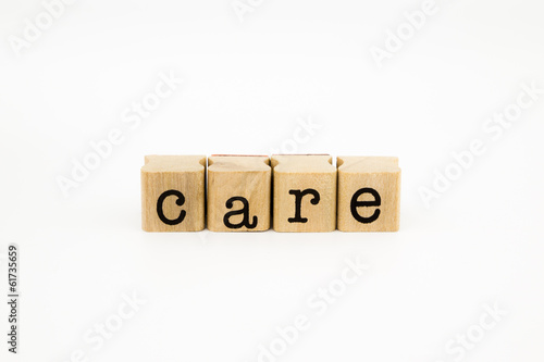 care wording isolate on white background