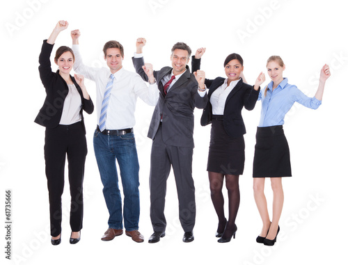 Group Of Businesspeople Raising Hand