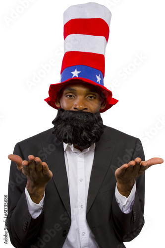 "Black man playing as ""Uncle Sam"" American Mascot"