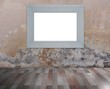 White frame on grunge wall