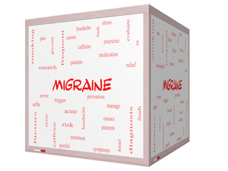 Migraine Word Cloud Concept on a 3D cube Whiteboard
