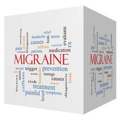 Migraine 3D cube Word Cloud Concept