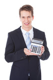 Businessman Showing Calculator