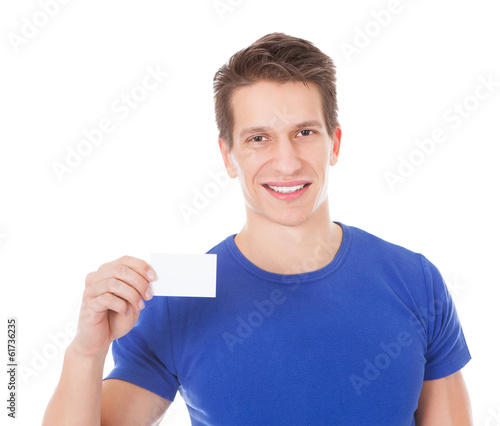 Young Man Holding Blank Visiting Card