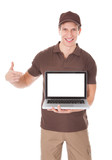 Delivery Man Holding Laptop