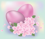 Easter eggs with flowers, vector illustration
