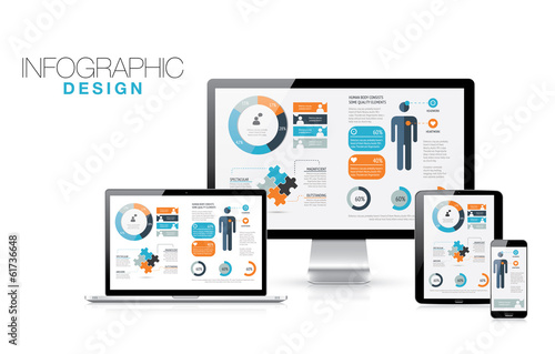 Infographics in modern realistic computers vector illustration
