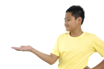 put something on boy's hand
