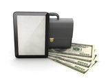 Tablet computer, leather briefcase and dollar bills