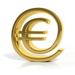 3D gold money online symbol isolated on white
