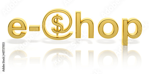 3D gold e-shop text with web symbol isolated