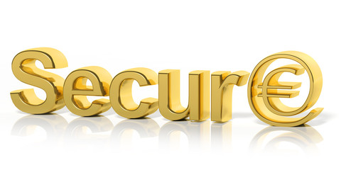 3D golden secure text and money online symbol isolated