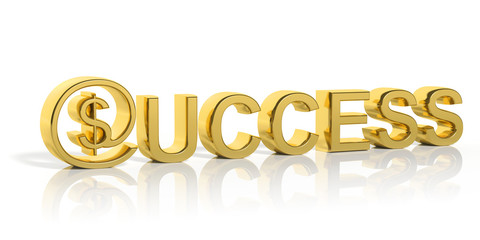 3D golden success text and money online symbol isolated