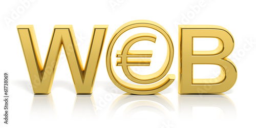 3D golden web text and money online symbol isolated
