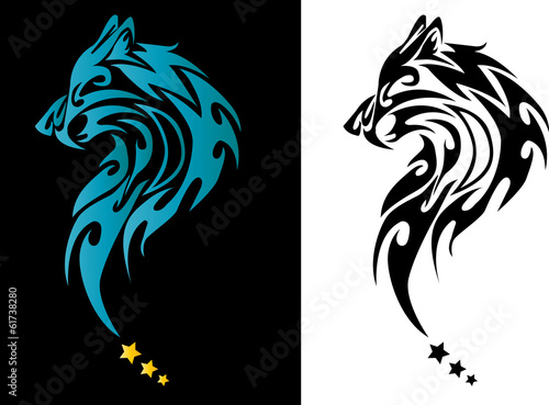Wolf Head Tattoo With Stars On Black and white Background