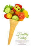 Fresh mixed vegetables on ice cream cone